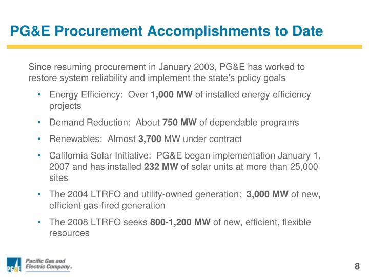 PG&E Procurement Accomplishments to Date