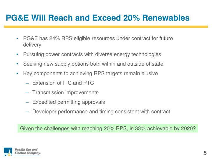 PG&E Will Reach and Exceed 20% Renewables