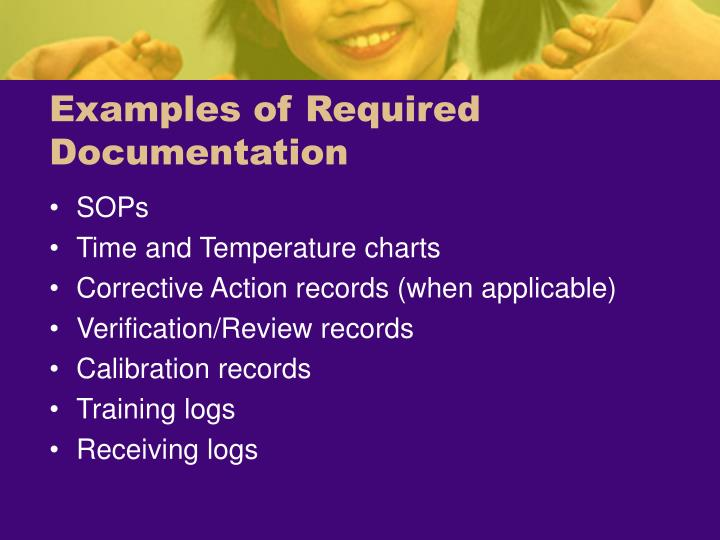 Examples of Required Documentation