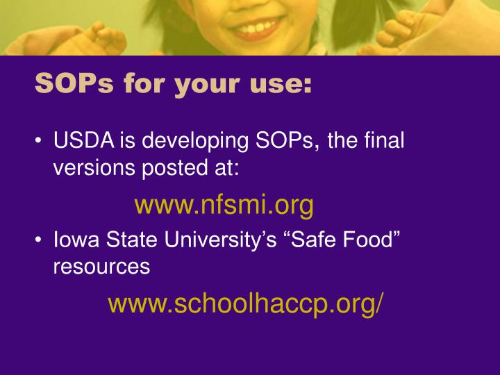 SOPs for your use: