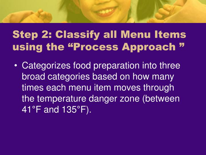 "Step 2: Classify all Menu Items using the ""Process Approach """