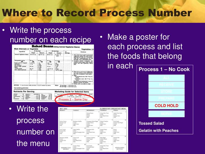 Write the process number on each recipe