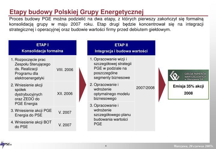 Etapy budowy Polskiej Grupy Energetycznej