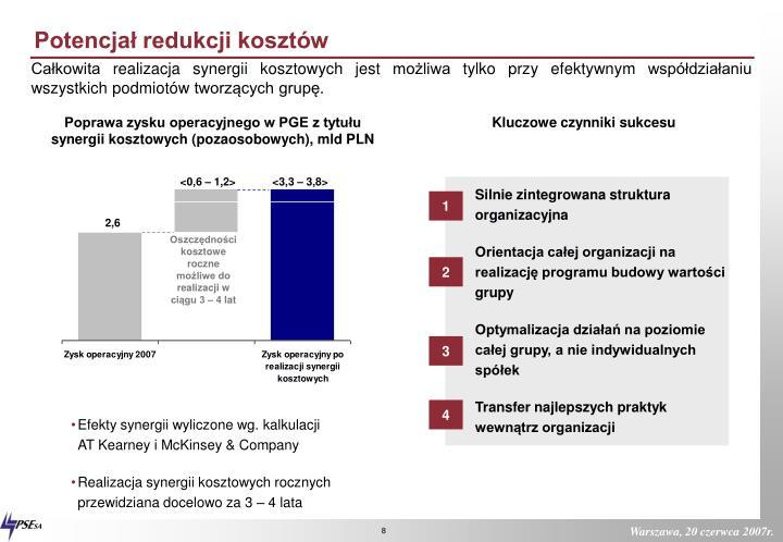 Potencjał redukcji kosztów