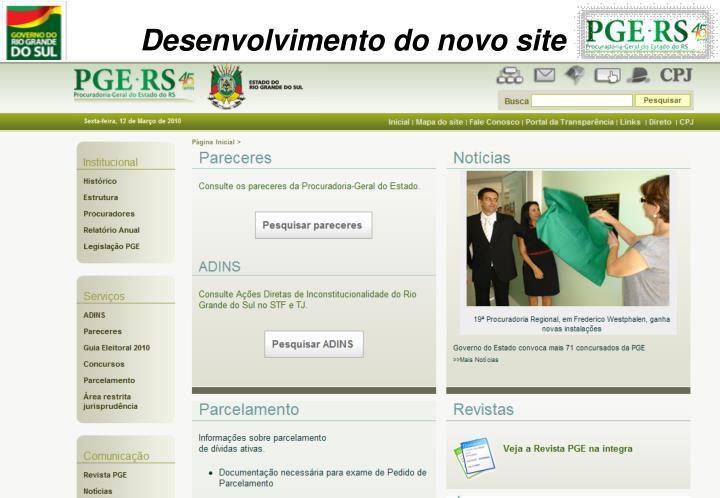 Desenvolvimento do novo site
