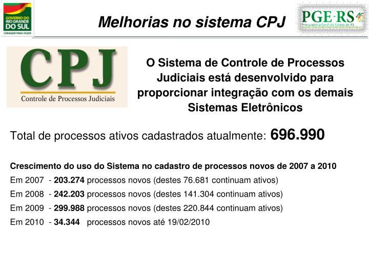 Melhorias no sistema CPJ
