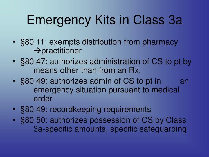 Emergency Kits in Class 3a