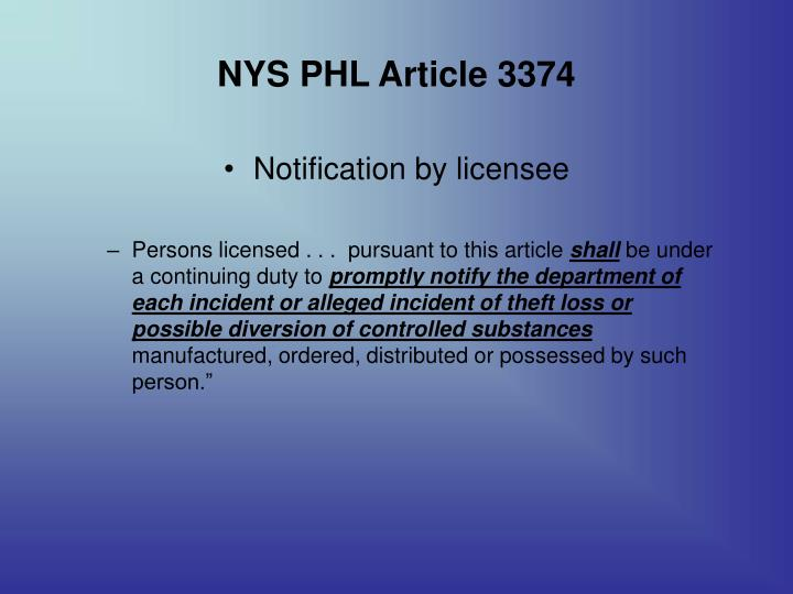 NYS PHL Article 3374