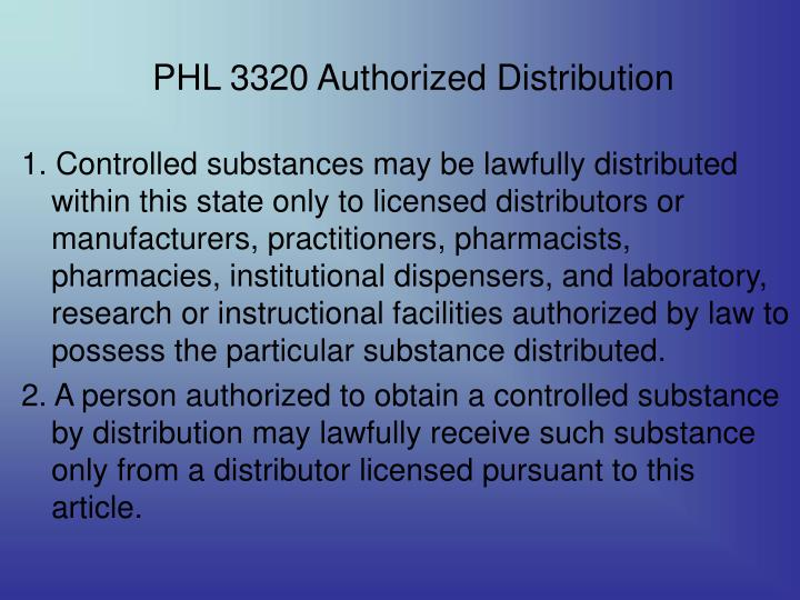 PHL 3320 Authorized Distribution