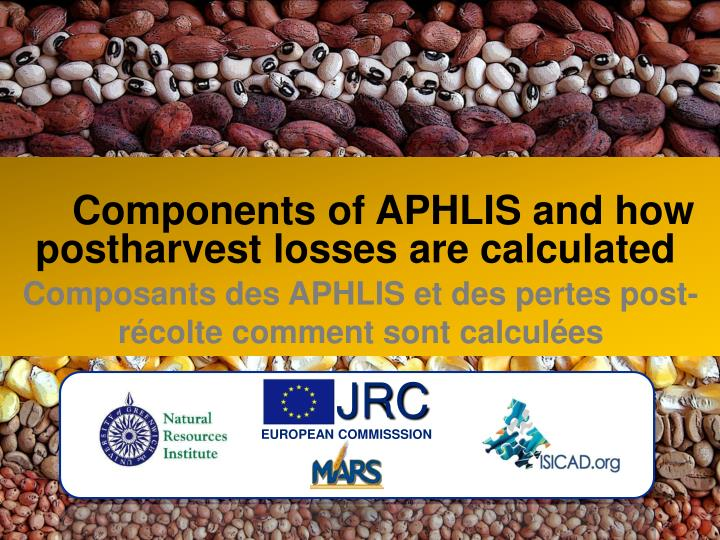 Components of APHLIS and how  postharvest losses are calculated