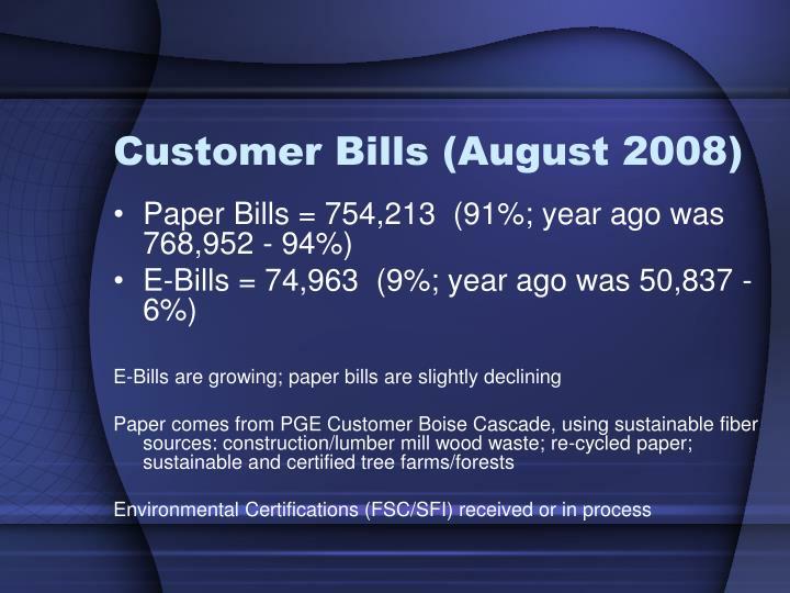 Customer Bills (August 2008)