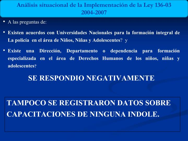 Análisis situacional de la Implementación de la Ley 136-03