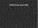 selecting journals