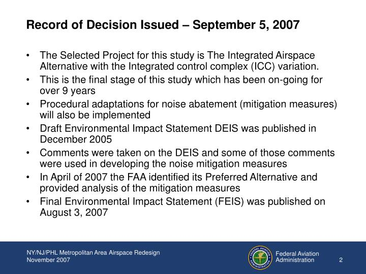 Record of Decision Issued – September 5, 2007