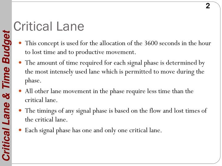 Critical Lane & Time Budget