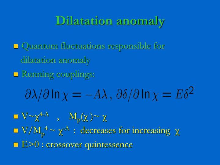 Dilatation anomaly