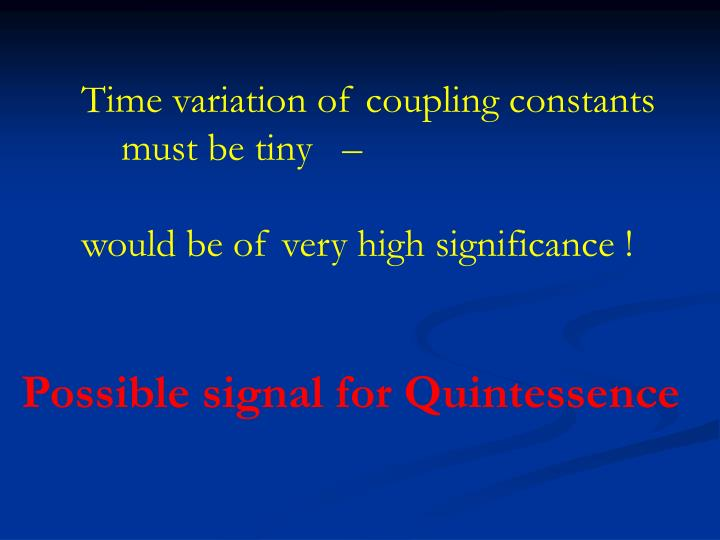 Time variation of coupling constants