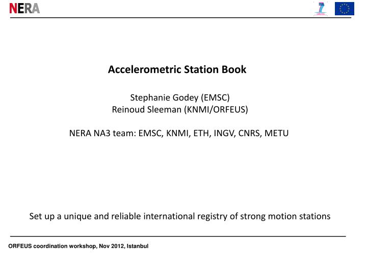 Accelerometric station book