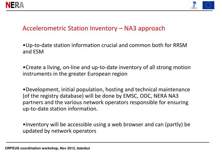 Accelerometric station inventory na3 approach