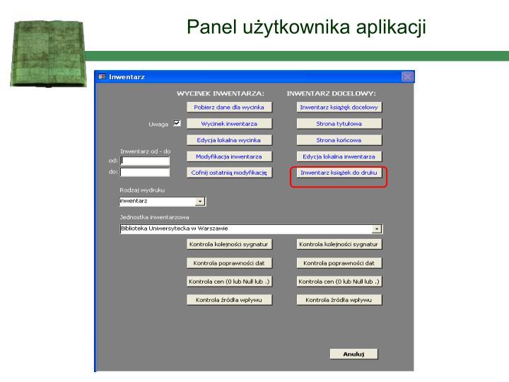 Panel użytkownika aplikacji