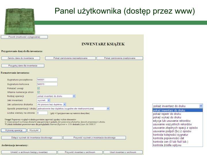 Panel użytkownika (dostęp przez www)