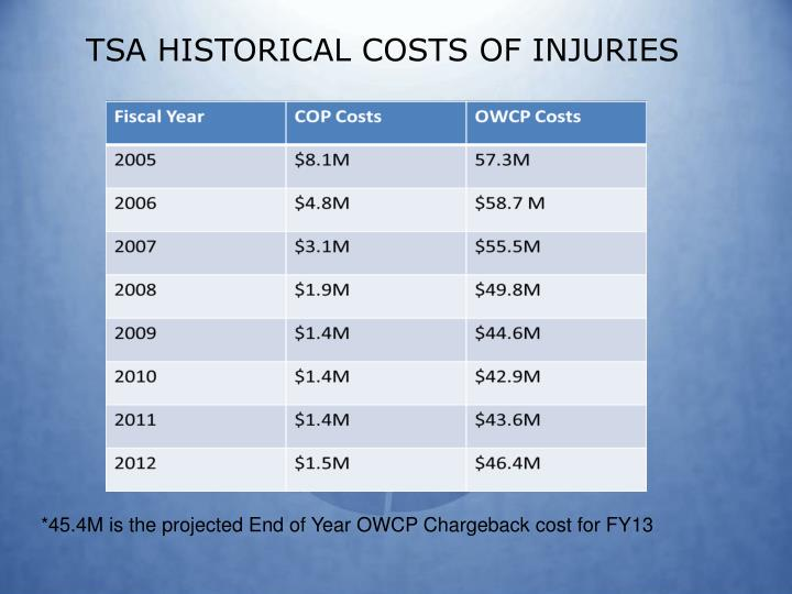 TSA HISTORICAL COSTS OF INJURIES