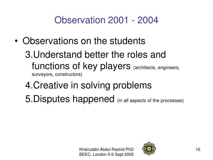 Observation 2001 - 2004