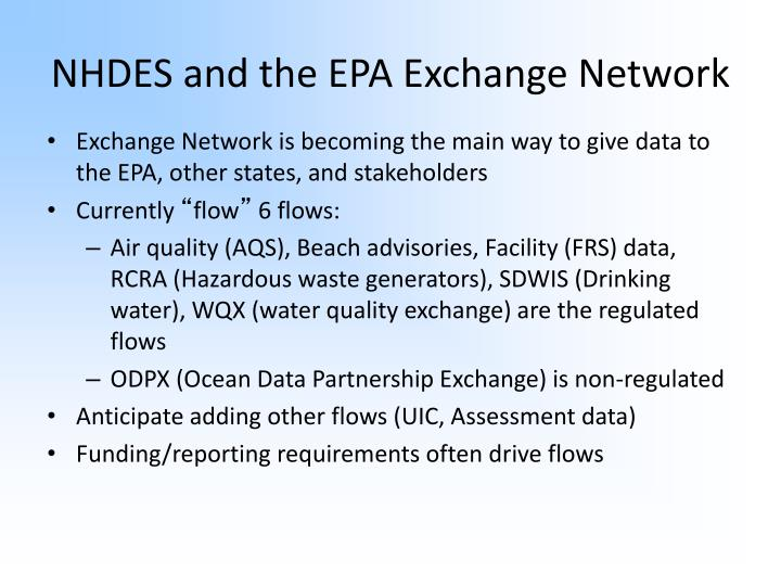 NHDES and the EPA Exchange Network