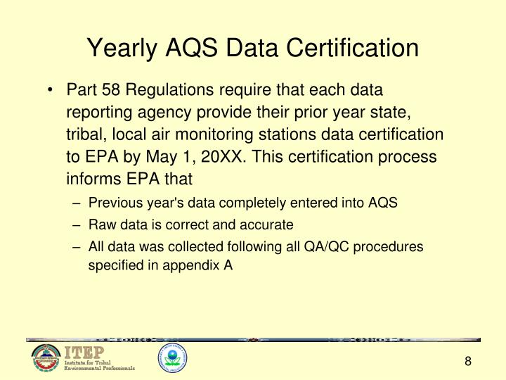 Yearly AQS Data Certification