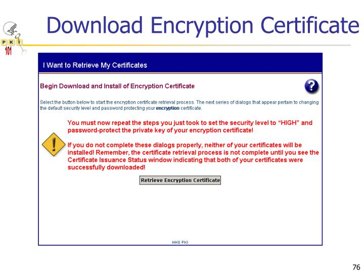 Download Encryption Certificate