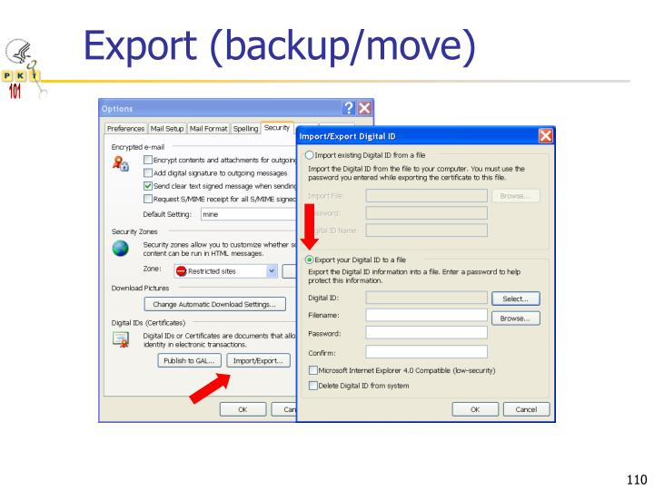 Export (backup/move)