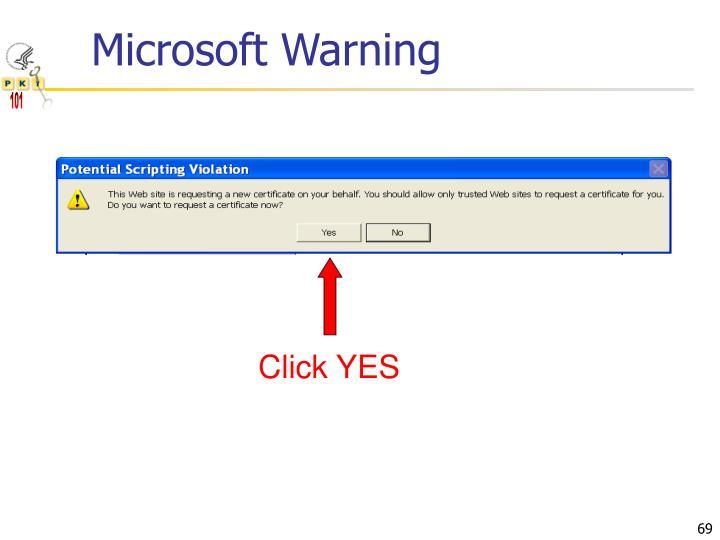 Microsoft Warning