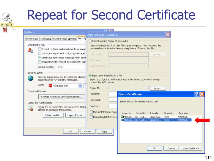 Repeat for Second Certificate