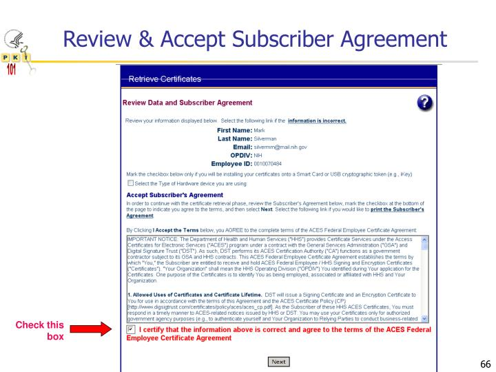 Review & Accept Subscriber Agreement