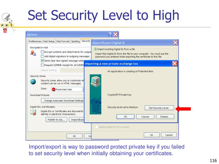 Set Security Level to High