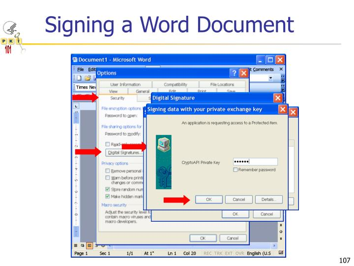 Signing a Word Document