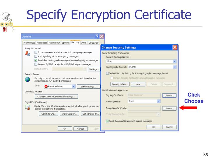 Specify Encryption Certificate