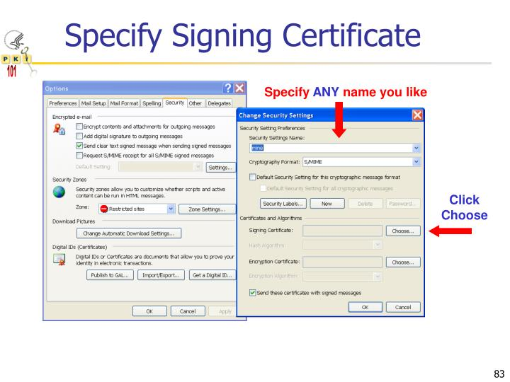 Specify Signing Certificate