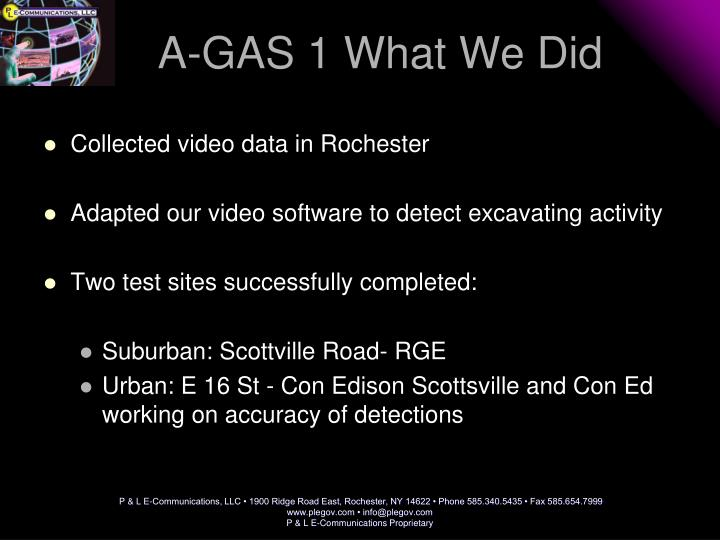 A-GAS 1 What We Did