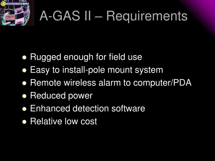 A-GAS II – Requirements