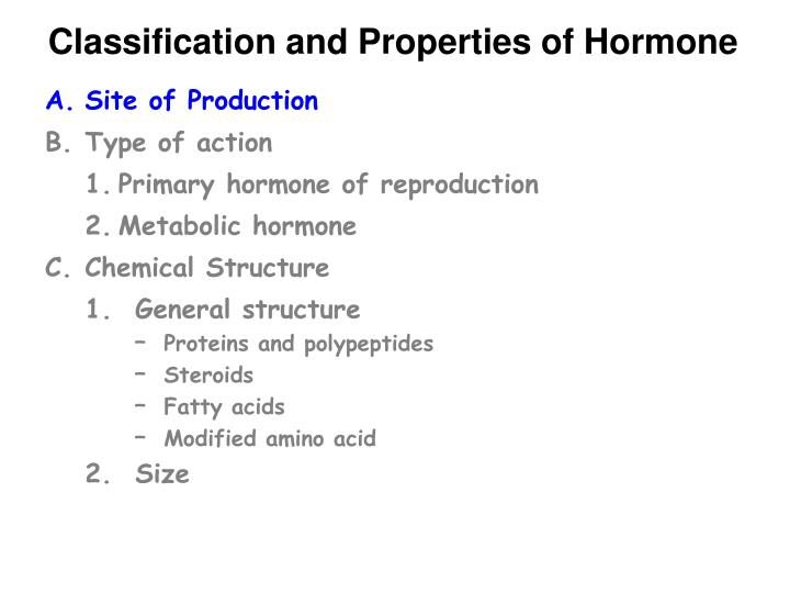 Classification and Properties of Hormone