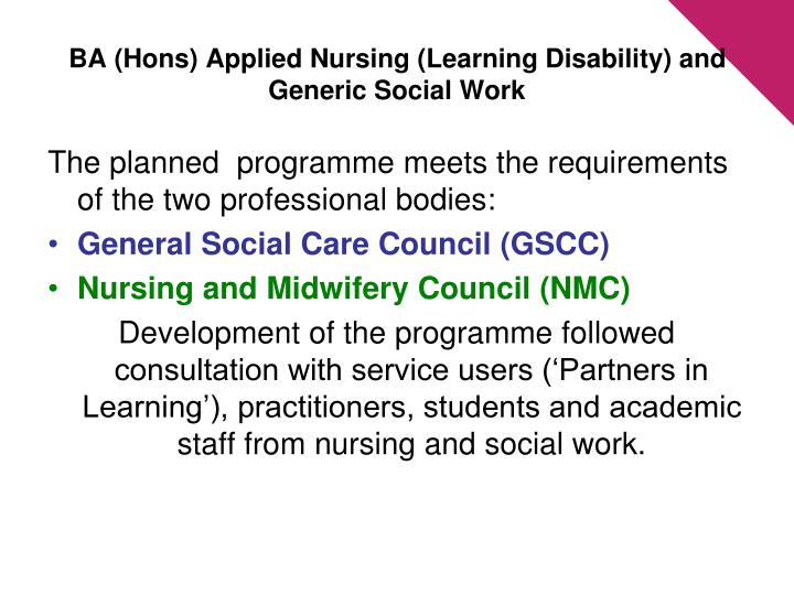 Ba hons applied nursing learning disability and generic social work
