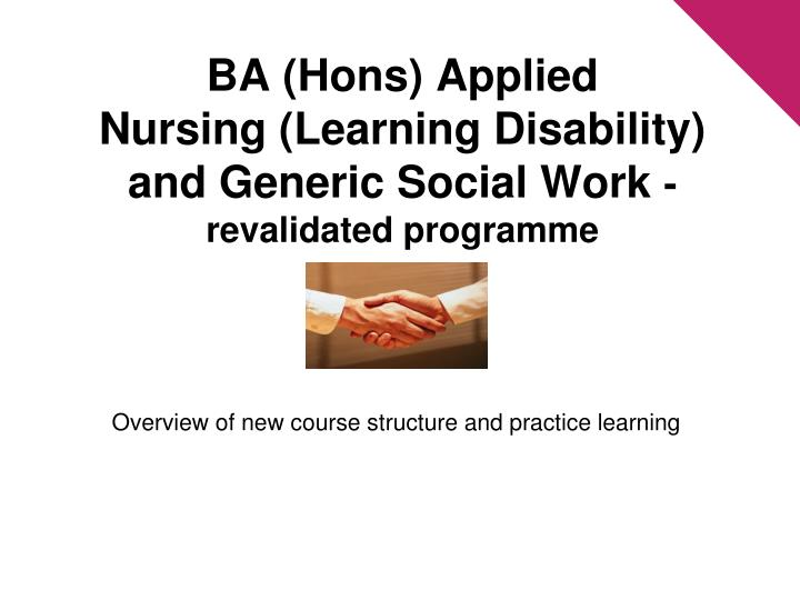 ba hons applied nursing learning disability and generic social work revalidated programme