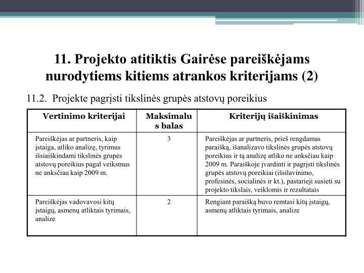 11. Projekto atitiktis Gairėse pareiškėjams nurodytiems kitiems atrankos kriterijams (2)
