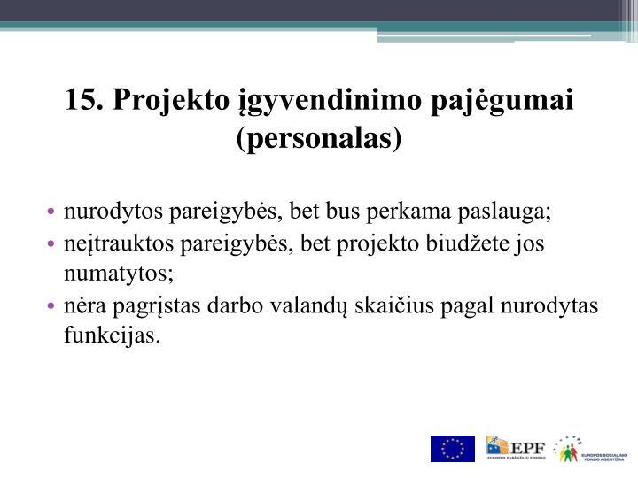 15. Projekto įgyvendinimo pajėgumai (personalas)