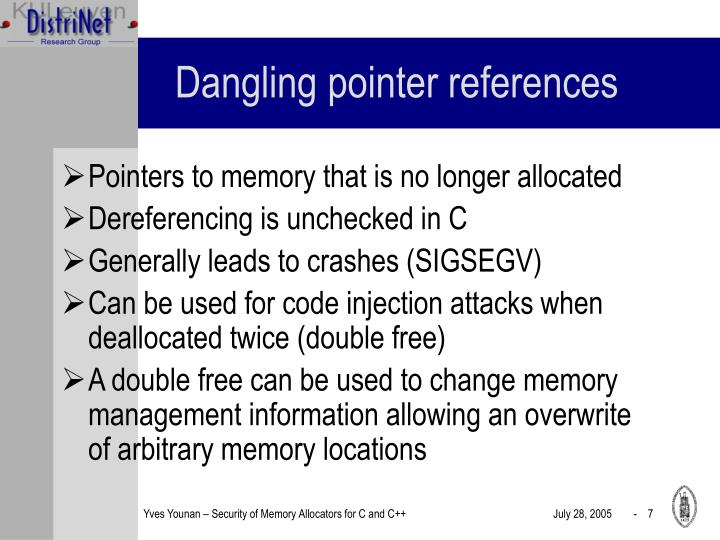Dangling pointer references