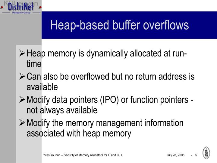 Heap-based buffer overflows