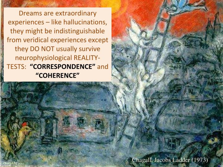 Dreams are extraordinary experiences – like hallucinations, they might be indistinguishable from veridical experiences except they DO NOT usually survive neurophysiological REALITY-TESTS: