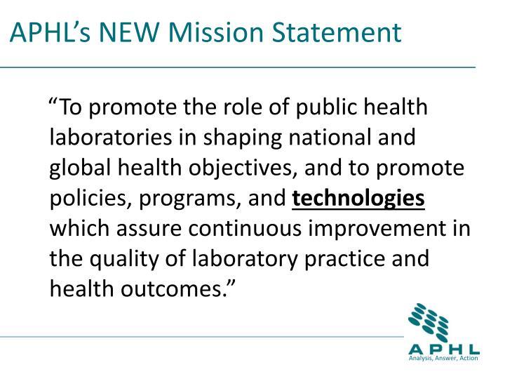 APHL's NEW Mission Statement