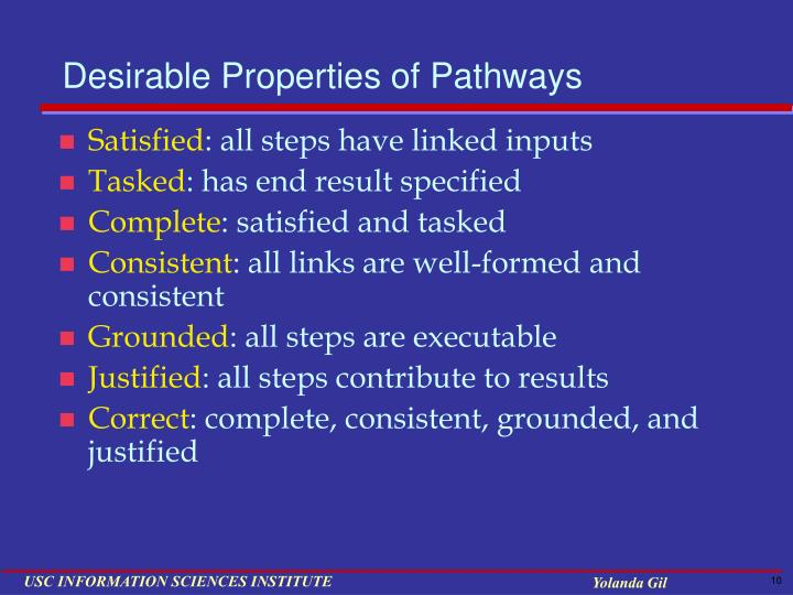 Desirable Properties of Pathways